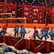 Snow Falling On The Hockey Rink Art Print