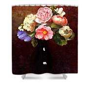 Red Roses In A Black Vase Shower Curtain