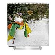 Winter Baseball Ball Gown  Shower Curtain