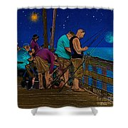 A Little Night Fishing At The Rodanthe Pier 2 Shower Curtain