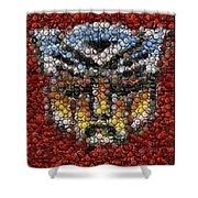 Autobot Transformer Bottle Cap Mosaic Shower Curtain by Paul Van Scott