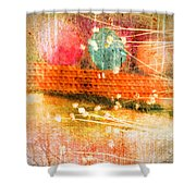 Branches And Brush Strokes Shower Curtain