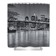 Brooklyn Bridge Twilight II Shower Curtain by Clarence Holmes