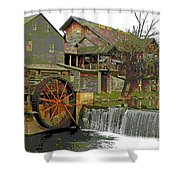 By The Old Mill Stream Shower Curtain by Larry Bishop
