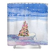 Cape Cod Christmas Tree Shower Curtain