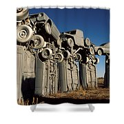 Carhenge In The Afternoon Shower Curtain