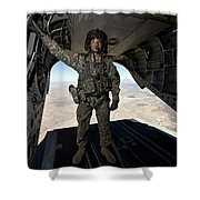 Ch-47 Chinook Crew Chief Stands Shower Curtain