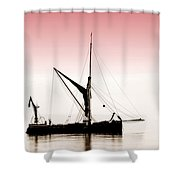 Coble Sailing  Against Pint Sky Shower Curtain