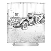 Drawing The Antique Car Shower Curtain