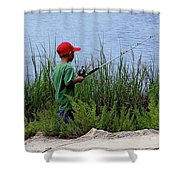 Fishing At Hickory Mound Shower Curtain