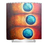 Floating Spheres Shower Curtain
