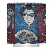 Geisha Love Triptych Shower Curtain