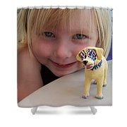 Lacey's Face Painted Dog Shower Curtain