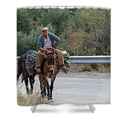 Local Travells By Donkey Shower Curtain