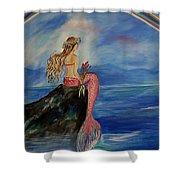 Mermaid Rainbow Wishes Shower Curtain