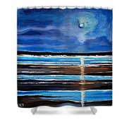 Midnight At The Beach Shower Curtain
