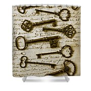 Old Keys On Letter Shower Curtain by Garry Gay