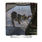 Sailors Jump Out Of A C2-a Greyhound Shower Curtain