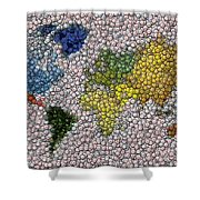 World Map Bottle Cap Mosaic Shower Curtain by Paul Van Scott