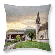 Country Church Throw Pillow by Debra and Dave Vanderlaan