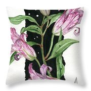 Flower Lily 01 Elena Yakubovich Throw Pillow by Elena Yakubovich