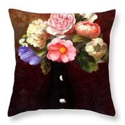 Red Roses In A Black Vase Throw Pillow