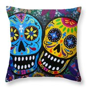 Couple Day Of The Dead Throw Pillow by Pristine Cartera Turkus