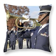 Airman Plays Taps During The Veterans Throw Pillow by Stocktrek Images