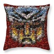 Autobot Transformer Bottle Cap Mosaic Throw Pillow by Paul Van Scott