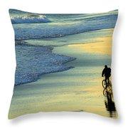 Beach Biker Throw Pillow
