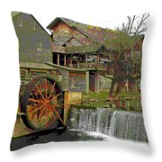 By The Old Mill Stream Throw Pillow by Larry Bishop
