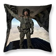 Ch-47 Chinook Crew Chief Stands Throw Pillow