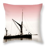 Coble Sailing  Against Pint Sky Throw Pillow