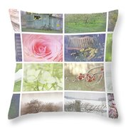 Collage Of Seasonal Images With Vintage Look Throw Pillow