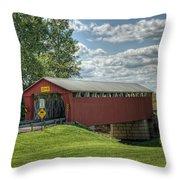 Covered Bridge In Ohio Throw Pillow by Pamela Baker