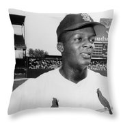Curt Flood (1938- ) Throw Pillow