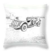 Drawing The Antique Car Throw Pillow