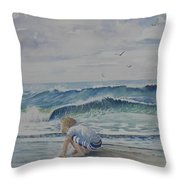 Finding Sand Crabs Throw Pillow