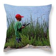 Fishing At Hickory Mound Throw Pillow