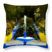 Fountain In Jardin Majorelle Morocco Throw Pillow