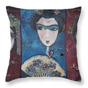 Geisha Love Triptych Throw Pillow