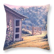 Holly Hocks Throw Pillow by Richard De Wolfe
