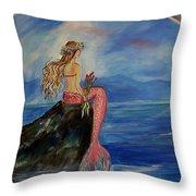 Mermaid Rainbow Wishes Throw Pillow