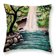 Mystical Waterfall Throw Pillow