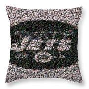 New York Jets Bottle Cap Mosaic Throw Pillow