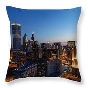 Night Falls On Chicago - D001087 Throw Pillow