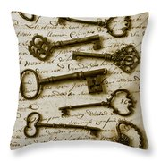 Old Keys On Letter Throw Pillow by Garry Gay