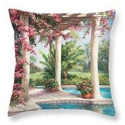 Poolside Garden Throw Pillow