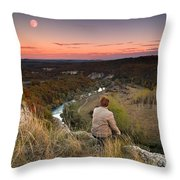 River And Moon Throw Pillow