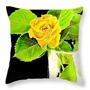 Rose In Vase Throw Pillow